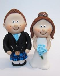 wedding photo - Scottish Bride and Groom Wedding Cake Topper, with Tartan of your Choice, Novelty Topper, Handmade Mini Topper