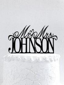 wedding photo - Mr and Mrs Johnson Wedding Cake Topper
