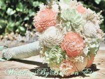 wedding photo - Weddings, Peridot Mint Peach Coral Bouquet, Burlap Lace, Sola Bouquet, Alternative Bouquet,Rustic Shabby ,Bridal Accessories, Keepsake, Mint
