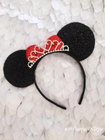 wedding photo - Disney Wedding Minnie Mouse Ears Crown Tiara, Disney Bachelorette Party, Minnie Mouse Tiara Headnand, Disney Bridal Shower Minnie Birthday