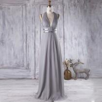 wedding photo - 2016 Light Gray Bridesmaid Dress with Silver Belt, V Neck Wedding Dress, Long Maxi Dress, Backless Halter Prom Dress Floor Length (J065)