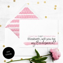 wedding photo -  Will you be my Bridesmaid Card-Personalized Simple Typography Bridesmaid Proposal-Maid Of Honor, Flower Girl Proposal-Abstract Watercolor