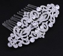 wedding photo - Vintage Silver Wedding Comb Bridal Hair Comb Hair Comb Vintage Hair Comb Wedding Head piece Rhinestone hair comb Vintage bridal accessories