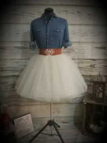 wedding photo - Free Shipping to USA Custom Made Adult Ivory  Tulle Skirt -for bridesmaid, photo prop