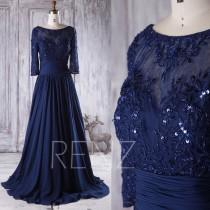 wedding photo - 2016 Navy Chiffon Bridesmaid Dress Beading, Sweetheart Mesh Illusion Neck Wedding Dress Long Sleeves, Mother of Bride Dress Floor (X069B)