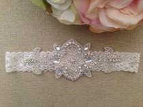 wedding photo - Wedding Garter - Bridal Garter - Crystal Rhinestone Garter on Ivory Lace
