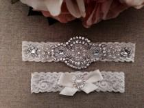 wedding photo - Wedding Garter - Bridal Garter - Crystal Rhinestone Garter and Toss Garter Set on Ivory Lace