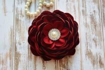wedding photo - Red Ruby, Dark Wine Hair Flower Clip, Bridal Fascinator, Hair Piece, Dark Red, Wedding, Flower Girl, Hair Accessories, Bridesmaid Flower