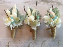 "wedding photo - Groom""s Boutonniere, Sea Shell Boutonniere, Beach Wedding Boutonniere"