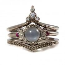 wedding photo - Lunar Temple Grey Moonstone, Ruby and Diamond Moon Engagement Ring Set - 14k Palladium White Gold