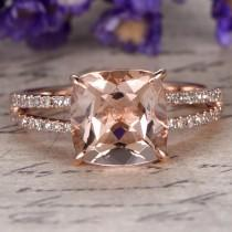 wedding photo - Morganite engagement ring with diamond,Solid 14k Rose gold,promise ring,bridal,8x8mm Cushion custom made fine jewelry,Prong set