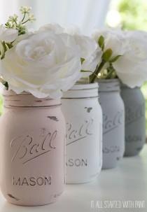 wedding photo - How To Paint And Distress Mason Jars