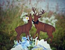 wedding photo - Buck and doe bride and groom-deer wedding cake topper-hunter wedding cake topper-hunting cake topper-deer wedding-rustic wedding