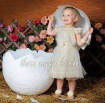 wedding photo - SALE Cap Sleeved Girls Dress, Tea Length Girls Dress, First Birthday Dress, 1st Birthday Outfit for Girls