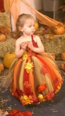 wedding photo - Fall themed Flower Girl Dress