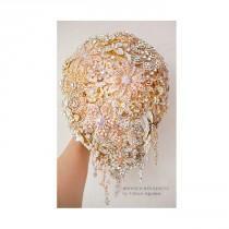 wedding photo - Teardrop Brooch bouquet. Gold wedding broach bouquet,  Cascading Jeweled Bouquet