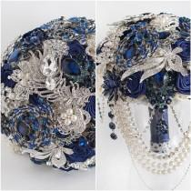 wedding photo - BLUE BOUQUET. Navy blue and silver wedding brooch bouquet, royal blue bouquet, bridal blue bouquet, Handmade Alternative Wedding Bouquet.