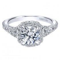 wedding photo - 14k White Gold Diamond Halo Engagement Ring By Gabriel & Co