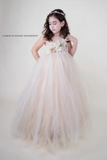 wedding photo - Ivory and Champagne  Flower Girl Tutu Dress Wedding Tulle Dress Girls Wedding Dresses