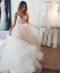 wedding photo - Gorgeous Wedding Dress,Spaghetti Straps Wedding Dress,Charming Wedding Dress,Elegant Wedding Dress,2017 Wedding Dress,PD00153