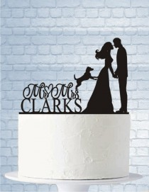 wedding photo - Wedding Cake Topper with Dog, Wedding Cake Topper Mr and Mrs, Last Name, Bride and Groom Kiss Cake Topper, Dog Cake Topper for Wedding