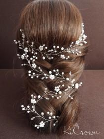 wedding photo - Long vine bridal hair Bridal hair vine Pearl bridal headpiece Crystal hair vine Pearl Bridal vine Wedding hairstyle