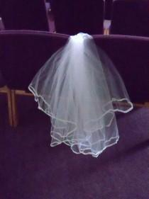 wedding photo - Handmade Bridal Veil Lace Edge Two Layer Wedding Bride First Communion