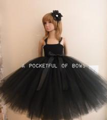 wedding photo - Black Flower Girl Dress, Long Black Tutu Dress, Black Formal Dress Girls