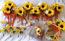 wedding photo - Wedding Bouquet Set / Burlap sunflower daisy bouquet Flower Bouquet OR You Choose Flower/Color 19 piece Set