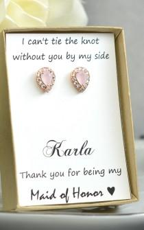 wedding photo - Blush pink,Opal Pink,Bridesmaids Earrings,Personalized Bridesmaids Gift,Crystal Stud Earrings, Bridesmaids Studs, Bridesmaids Gifts & cards