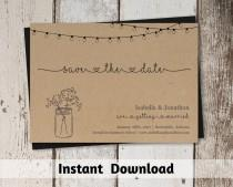 wedding photo - Save the Date Card Printable Template - Rustic Mason Jar & Fairy Lights on Kraft Paper