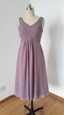 wedding photo - V-neck Purple Grey Chiffon Short Bridesmaid Dress