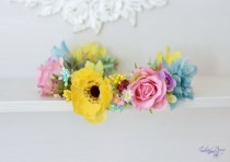 wedding photo - Bridal floral crown Colorful wedding flower crown Garden anemone rose boho flower wreath Wedding floral crown Yellow pink mint floral halo