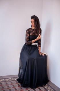 wedding photo - Black tulle skirt, long tulle skirt, tulle maxi skirt, tutu, long black skirt, party outfit, new years eve, soft tulle flowing elegant skirt
