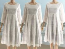 wedding photo - White  beach Dress, Cotton Lace Dress,vintage,Quarter sleeves,Bridesmaid Dress, Empire Dress,Retro Dress,Summer,Romantic Dress,Unique Dress