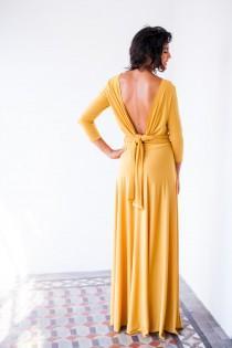wedding photo - Long sleeve evening dress, mustard maxi dress, long sleeve wrap dress, buttercup bridesmaid dresses, convertible long dress, yellow dress