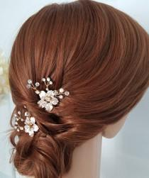wedding photo - Bridal Comb Rose Gold Wedding Hair Comb Small Hair Comb Crystal Leaf Comb Set of 2