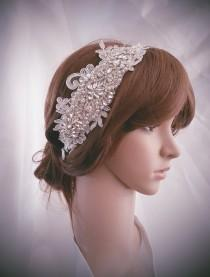 wedding photo - Weddings, Crystal headband, Silver Wedding headband, Rhinestone headband, Lace headband, Bridal headpiece, Hair Accessories