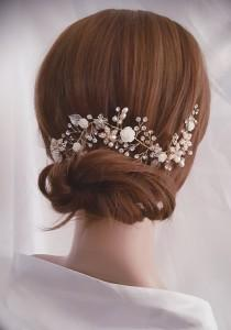 wedding photo - Wedding Hair Vine, Gold Bridal Head Piece, Silver Bridal Hair Accessory, Flower Hair Vine, Pearl Hair Vine