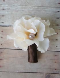 wedding photo - Hydrangea Boutonniere Groom Groomsmen Wedding Flower, Hydrangea and Pearl Accent - Rustic Wedding Boutonnieres