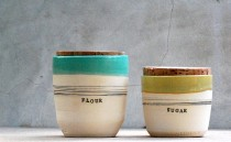 wedding photo - Stoneware kitchen canisters - Canister set - Kitchen storage - Housewarming gifts - Custom wedding gift - Rustic home