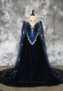 wedding photo - Night Godess Elven Corset Dress ~ Gothic Witch Wedding Gown Fairy Fantasy Bridal Dress Couture Wiccan Pagan Cloak ~ Ball Masquerade Corsetry