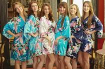 wedding photo - Bridesmaid Robes, Set of 4 Robes, Wedding Robe, Bridesmaid Gifts, Kimono Robe, Fast Shipping from New York, Regular and Plus Size Robe