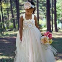 wedding photo - Ivory Flower Girl Dress, Champagne Flower Girl Dress, Flower Girl Dress, Vintage Flower Girl Dress, Blush tutu Dress, Flower Girl Dresses