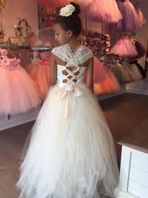 wedding photo - Lace girl dress, flower girl dress, flower girl lace dresses, country lace dress, cream toddler dress, Ivory lace dress, Rustic flower girl.