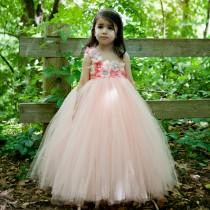wedding photo - Flower Girl Dress Peach, Coral Flower Girl, Coral Tutu Dress, Peach Tutu Dress, Girls Birthday Outfit, Flower Girl Dresses, Coral Dresses
