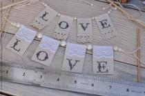wedding photo - SMALL Lace LOVE Wedding Cake Topper Banner with pearls / fun wedding cake toppers
