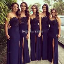 wedding photo -  2017 New Strapless A-Line Long Bridesmaid Dresses Applique Beads Chiffon Wedding Guest Dress Dark Navy Evening Party Dresses Cheap Dress Lace New Online with $108.5