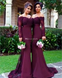 wedding photo -  2017 New Mermaid Bridesmaid Dresses Elegant Bridesmaid Dress Wedding Guest Dress Long Sleeve Evening Party Dresses Cheap Dress Lace New Online with $125.72/Piece on