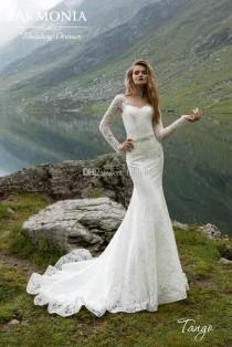 wedding photo - 2017 New Lace Mermaid Wedding Dresses Long Sleeve Sheer Jewel Neck Beaded Sash Backless Bridal Gowns Appliqued Outdoor Wedding Gowns Dress Lace Luxury Illusion Online with $162.29/Piece on Hjklp88's Store